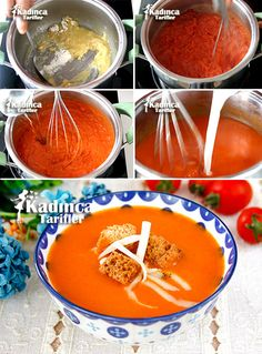 Milk Tomato Soup How? To the milky tomato soup with 1 tablespoon butter 2 tablespoons of vegetable oil is dissolved koyulup pot. Tomato Basil Soup, Tomato Soup Recipes, Tomato Recipe, Shawarma, Turkish Recipes, Ethnic Recipes, Crock Pot Soup, Food Articles, Time To Eat