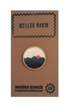 handpainted wooden brooch  pin  badge  trees sun by KELLEERICH, £8.00 #brooch #handmade #handpainted #illustrated #wood #pin