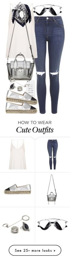 """Outfit with metallic items"" by ferned on Polyvore featuring Topshop, Valentino, LG, 3.1 Phillip Lim, Forever 21, women's clothing, women, female, woman and misses"
