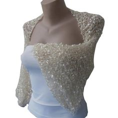 Knit  White Golden Gold Bolero Sleeves Shrug Wrap Wedding