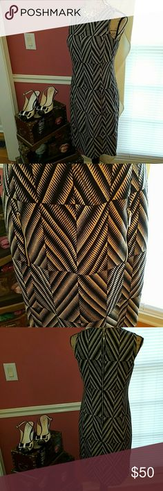 STUNNING ZIPPERED ANN KLEIN DRESS Zippers make this Anne Klein dress a must have. There are 2 front pockets with exposed gold zippers and the back has a gold exposed zipper.The cream and black zigzag pattern adds style.This has class written all over it! Anne Klein Dresses