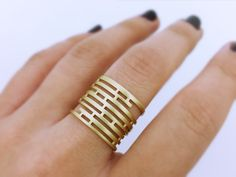 Solid gold ring, Maze ring, art deco ring, Open ring, Gaming jewelry, Sterling gold ring, Handmade ring, Puzzle ring, Solid gold puzzle by fattoamanou on Etsy https://www.etsy.com/listing/500491472/solid-gold-ring-maze-ring-art-deco-ring