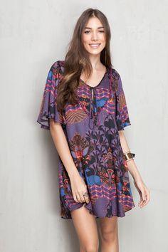 vestido amplo estampado peacock | Dress to