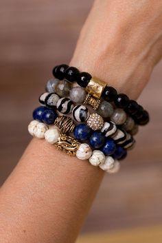 Blue and Black Bracelet Stack