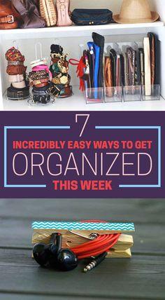 7 Incredibly Easy Ways To Get Organized This Week. Paper towel holders as bracelet and belt holders.