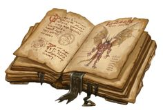 The tome, Beyond the Iron Gates, found in the red wizards chamber by the heroes - Fantasy Book Fantasy Weapons, Fantasy Rpg, Fantasy Books, Medieval Fantasy, Cthulhu, Objet Harry Potter, Rpg Dice, Magia Elemental, Pathfinder Rpg