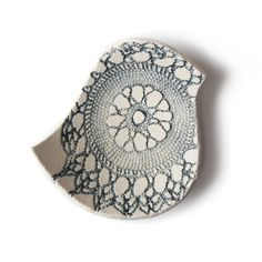 Blue bird bowl in cream stoneware ceramic with vintage lace texture in steel blue grey Handmade in England British studio pottery. $23.00, via Etsy.
