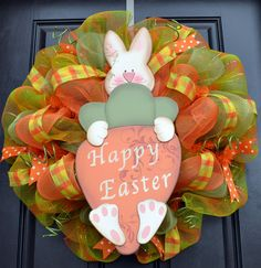Easter Mesh Wreath - Easter Bunny Wreath with Carrot - Orange and Green Plaid Wreath. $75.00, via Etsy.