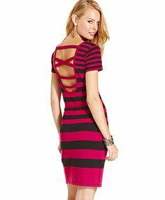 Planet Gold Juniors Dress, Short Sleeve Striped Cutout Sweater