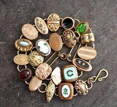 Edwardian Victorian Era cufflink necklace green gold very ornate elegant assemblage jewelry vintage antique oval choker statement formal