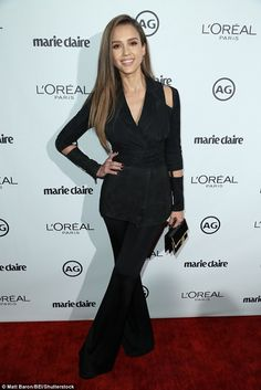All business! Jessica Alba took her complete package persona to the Marie Claire Image Mak...