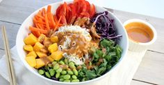 Rainbow Shirataki Bowl with Peanut Lime Sauce! This Buddha noodle bowl is a healthy, colorful, delicious meal! So easy to prepare. Perfect for a vegan lunch, or dinner. Great served hot or cold. Gluten free, plant based.