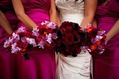 Fuchsia, red, black, purple wedding flower colors,#wedding theme