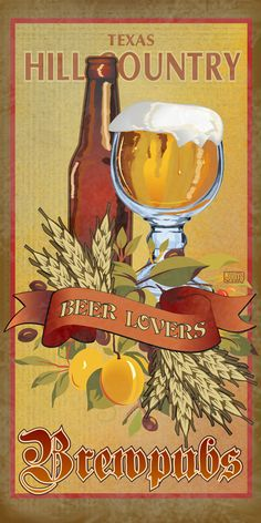 Lots of micro-breweries opening in Texas. Brewpub poster www.etsy.com/shop/texasposter