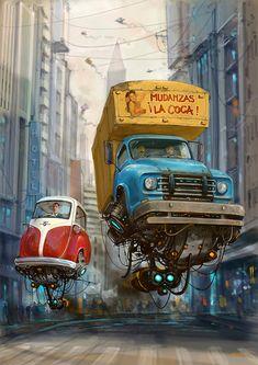 Turbo-Reactive Diesel-Punk: Flying Retro Cars By Alejandro Burdisio Diesel Punk, Auto Illustration, Science Fiction Kunst, Desenho New School, Arte Steampunk, Illustrator, Flying Car, Sci Fi Art, Fantasy Art