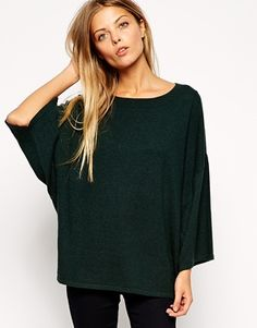 Dark green Cape Sleeve Sweater
