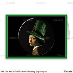 Girl With The Shamrock Earring Greeting Card  #SpoofingTheArts #StPatricksDay #gravityx9