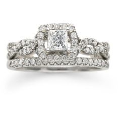 7/8 CT. T.W. Diamond Engagement Ring ($1,718) ❤ liked on Polyvore featuring jewelry, rings, accessories, wedding rings, engagement rings, princess cut ring, 14k engagement ring, band engagement rings and wedding band rings
