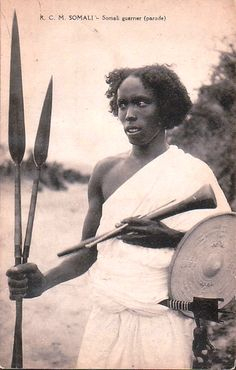 Somali Warrior, typical of the followers of the Mad Mullah. Sayyīd Muhammad `Abd Allāh al-Hasan (Somali: Sayid Maxamed Cabdille Xasan, Arabic: محمّد عبد اللّه حسن) (April 7, 1856 – December 21, 1920) was a Somali religious and patriotic leader. Referred to as the Mad Mullah by the British, he established the Dervish State in Somalia that fought the 20 year Somaliland Campaign against British, Italian and Ethiopian forces.