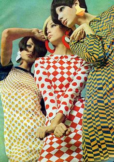 Pop art fashions seen in Mademoiselle magazine, May 1966.