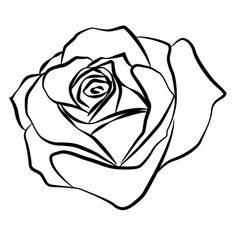 Rose Outline Rose Outline Drawing, Tattoo Outline Drawing, Flower Outline, Outline Drawings, Cool Drawings, Logo Outline, Daddy Tattoos, Rose Stencil, Tattoo Video
