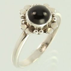Tribal Art Ring Size US 5.75 Natural BLACK ONYX Gemstone 925 Sterling Silver NEW #Unbranded