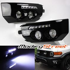 FOR-07-14-FJ-CRUISER-BLACK-FRONT-BUMPER-WING-LED-DRL-FOG-LIGHTS-LAMPS-w-SWITCH