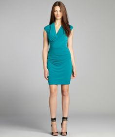 Ivy & Blu aruba blue stretch jersey surplice neck sheath dress
