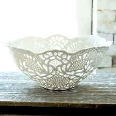 This ceramic bowl gives me the idea to starch a doily and shape over a bowl. Then I am thinking some kind of urethane to seal and create a perminate bowl