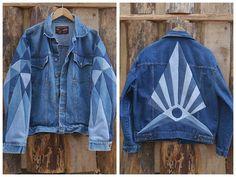 mixed color denim jacket