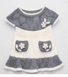 Gri beyaz örgü çocuk elbiseler