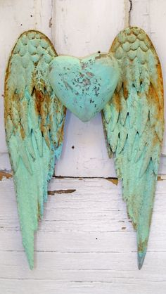 Angel wings wall decor with heart shabby chic by AnitaSperoDesign, $120.00 I REALLY WANT THESE!!!!!