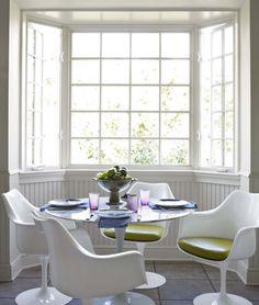 white + green egg chairs