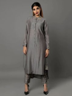 Grey Bamberg Linen Tunic with Pants - Set of 2 By Ritu Jain Singh