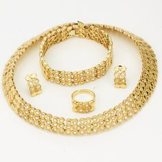 2017 Choker Necklace Earrings Sets UK African Dubai Gold Plated Jewelry Sets Retro Women Wedding Jewelry wholesale