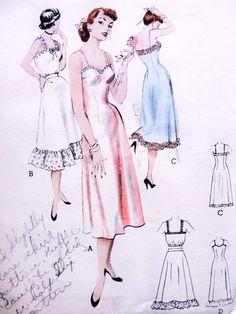 1950s  Lingerie Slips Pattern BUTTERICK 6382 Tailored Slip,Camisole Top,Petticoat Slip, Floor Length Ruffle Hemline Slip Bust 34 Vintage Sewing Pattern FACTORY FOLDED