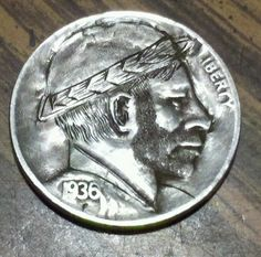 "Hobo Nickel Folk Art Scruffy Feller Buffalo Nickel by ""Sue"" 
