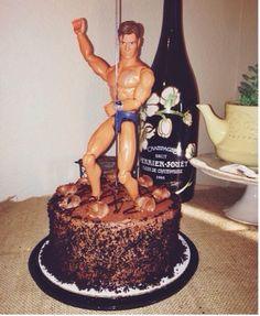 Fun Bachelorette stripper Cake: Borrow your son or nephews G.I joe, strip him naked and place him on any delicious cake. Bam you have a stripper cake, thanks son.