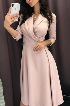 Shop Solid Ruched Wrap Casual Dress – Discover sexy women fashion at Boutiquefeel Classy Dress, Classy Outfits, Dress Casual, Elegant Dresses Classy, Casual Outfits, Casual Dresses For Winter, Winter Outfits, Ladies Outfits, Romantic Dresses