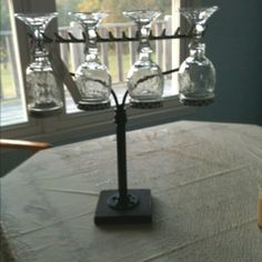 Wine glass rack made from rake and plumbing parts!