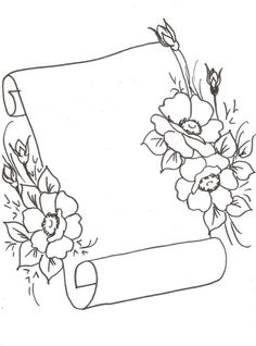 T T scroll with flowers Page Borders Design, Border Design, Pencil Art Drawings, Art Drawings Sketches, Hand Embroidery Patterns, Embroidery Designs, Diy Planner, Bullet Journal Art, Borders For Paper