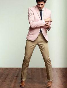 Shop this look on Lookastic:  http://lookastic.com/men/looks/blazer-tie-dress-shirt-dress-pants-oxford-shoes/8057  — Pink Blazer  — Black Tie  — White Dress Shirt  — Khaki Dress Pants  — Brown Leather Oxford Shoes