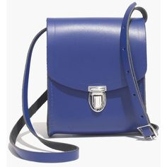 MADEWELL The Cambridge Satchel Company® Mini Push Lock Crossbody Bag (415 RON) ❤ liked on Polyvore featuring bags, handbags, shoulder bags, jet blue, handbags shoulder bags, mini crossbody, hand bags, mini crossbody purse and leather hand bags