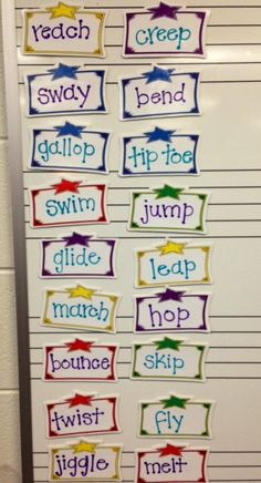 "I've been thinking about creative ways for my kids to get the ""wiggles"" out, especially BOYS. :) Once we learn about verbs, maybe have a huge selection of fun action verbs (like the ones here) for the kids to choose to act out, maybe even as a prize for being good."
