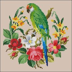 Green parrot vintage bird cross stitch pattern recharted from an original hand painted Berlin woolwork chart. ★ A masterpiece with our own hands - just with cross stitch pattern of MagicOfNeedle. ★ Only full cross-stitches used. Only pattern. Digital Format - PDF. ☛Pattern