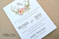 Boho antlers floral watercolor PRINTED wedding by ChelseaPress on Etsy
