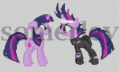 CROSS STITCH PATTERN My Little Pony Twilight Sparkle and FutureTwilight. $1.50, via Etsy.