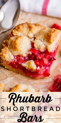 These Rhubarb Bars have a thick, buttery shortbread crust, topped with a layer of simple rhubarb filling. A secret ingredient makes the rhubarb bright red! Baking Recipes, Cookie Recipes, Dessert Recipes, Bar Recipes, Easter Recipes, Easy Desserts, Delicious Desserts, Yummy Food, Kitchens