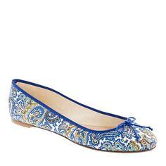 J Crew Classic Printed Ballet Flat (Casablanca Blue)