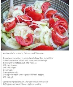 Marinated cucumber, tomato, and onion salad